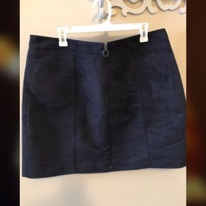 Navy/charcoal high waisted velvet skirt